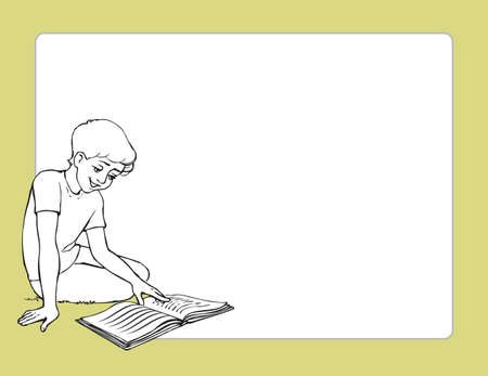 Vector frame with the image of a boy sitting on the floor with a book