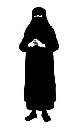 Adult nomad bedouin ramadhan worship. Aged vintage garment robe thobe paranja fashion. Line dark hand drawn asia turkish syria portrait logo emblem sign icon design sketch in old retro egyptian style 向量圖像