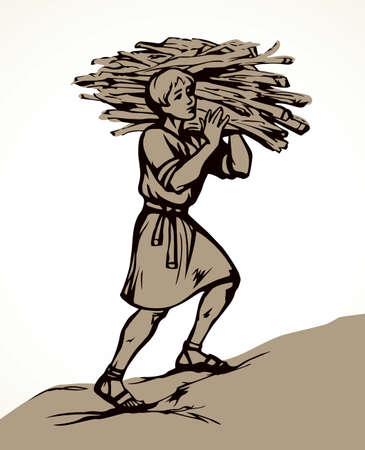 Antique asian strong arab human labor log fire fuel pile bundle. Line black drawn adult tired poor porter back jew farm slavery job active logo icon sign. Retro white biblic story art doodle cartoon