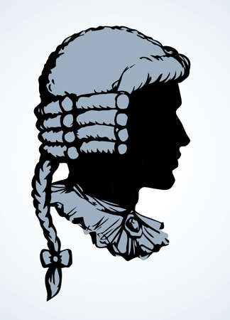 Line closeup legal law judicial venetian baroque periwig dress set. Outline black hand drawn royal europe france theater lord artist character logo sign icon art ancient cartoon design. Close up view