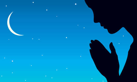 Lone young evangelic pious kneel sorrow mourn pretty lady ask Lord Jesus Christ on dark silence grace space for text. Black side arm purity express icon on blue starry copyspace banner frame backdrop