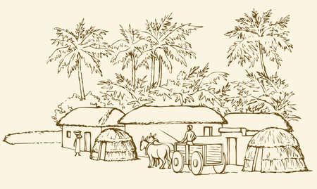 Past biblic babel aged jungle rural tribe adobe. Early arabic peasant slave job scene. Old clay mud abode, round thatch shack barn, donkey wagon. Vector outline hand draw picture sketch in retro style Illusztráció