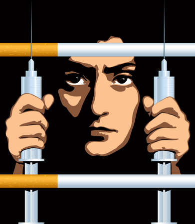 The poster against dependence: the person behind a lattice from cigarettes and syringes Illustration