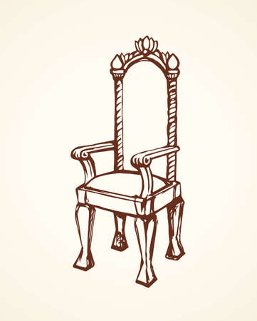 Classic fashion palace lux exquisite sit arm stool design on white background. Freehand line black ink hand drawn logo sketchy in art retro doodle cartoon graphic style pen on paper and space for text Illusztráció