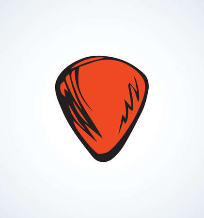 Classical small vibrant red Plectra on white backdrop. Bright orange color drawn object logotype emblem design sketchy in retro artistic doodle style pen on paper. Closeup view with space for text