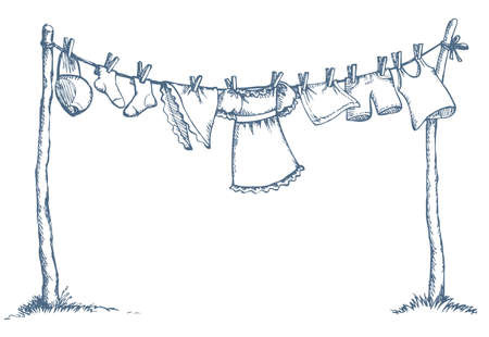 Group of wash clothing on clothesline stretched over two wooden sticks with copyspace on sky. Vector monochrome freehand ink drawn background sketchy in art scribble style pen on paper with space for text
