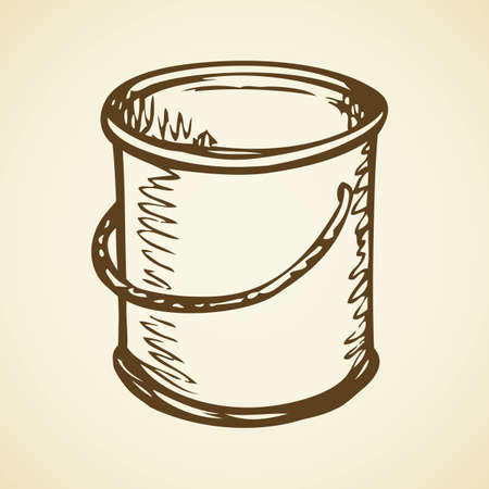 New enamel oil toner design tub box tare isolated on white wall backdrop. Freehand outline ink hand drawn symbol icon sketchy in retro art scribble style pen on paper. Closeup view with space for text
