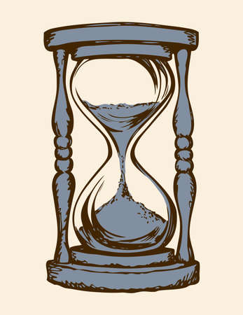 Aged flowing grain timekeeper isolated on white backdrop. Freehand outline ink hand drawn icon sketchy in art scribble style pen on paper. View closeup with space for text