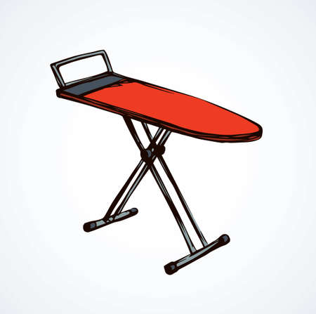 Modern single empty red table for garment ironing on white backdrop. Bright orange color hand drawn collapsible object logo emblem in art retro scribble cartoon style. Isometric view with space for text