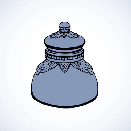 Royal luxury old silver kitchen glass jug with salt isolated on white background. Outline ink hand drawn picture sketch in art retro doodle style pen on paper. View closeup and space for text on label
