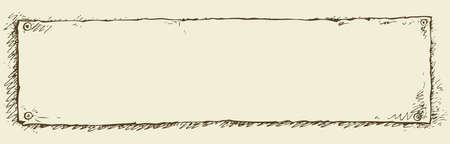 Single piece of paper, empty for copy space, pinned with a thumb tack. Vector monochrome freehand linear ink drawn backdrop sketchy in art scribble antiquity retro style. View close-up with space for text