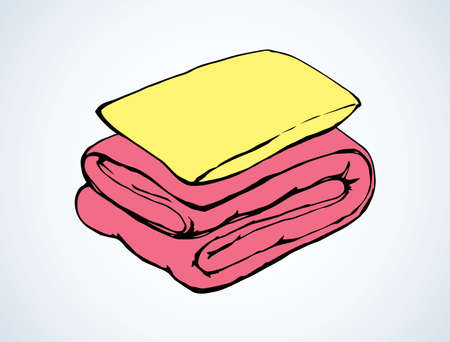 Neat cozy snug thick feather divan red velvet throw roll and yellow chock on white bedroom backdrop. Bright pink color hand drawn comfy logo sketchy in retro doodle graphic style and space for text
