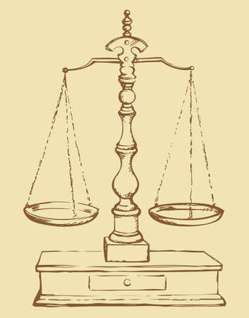 Scales of Justice. Vector grunge freehand linear ink drawn sketchy backdrop in art antiquity scribble style pen on paper. View close-up with space for text