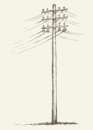 Phone electronic mains post stand in winter field near road. Vector freehand linear ink hand drawn icon picture sketchy in art scribble style pen on paper. Side view with space for text on foggy sky