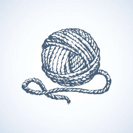 Big cute circle twisted tied ravel twine strand coil isolated on white backdrop. Outline black ink hand drawn picture sketchy in art scribble retro style pen on paper. Closeup view with space for text