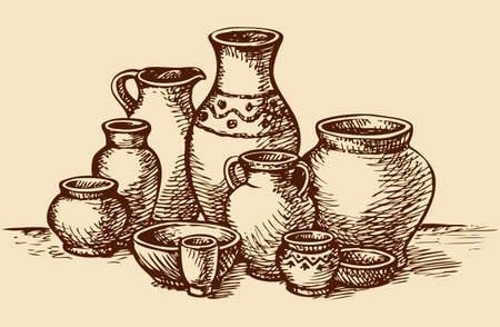 Empty painted clay pots for water, oil, milk or wine of different size and shape of the market for sale at. Vector monochrome freehand sketchy linear ink drawn picture in style of book engraving