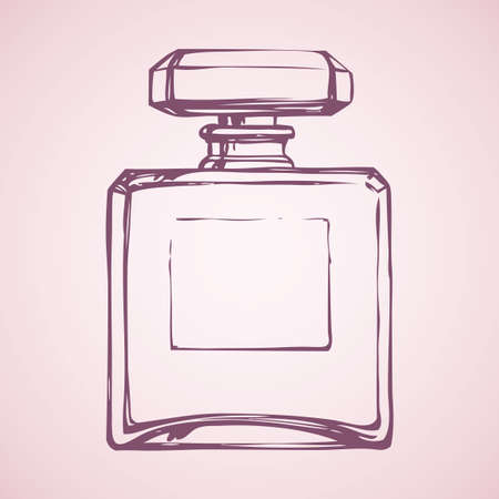 Romantic stylish icon of old square odour make spirit flask isolated on light pink backdrop. Freehand linear ink drawn sign sketch in art style pen on paper. Close-up view with space for text on tag 向量圖像