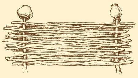 Vector drawing in the style of book prints. Wicker fence of thin rods with old clay pots hanging to dry on a wooden column, standing near the road, with space for text Vector Illustration