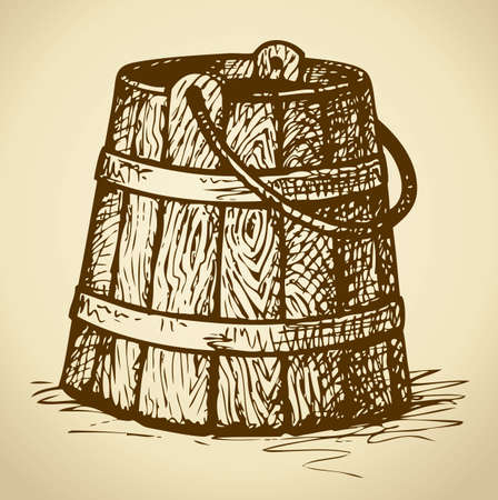 Obsolete bucket with iron hoops and handle. Vector monochrome freehand ink drawn background sketchy in scrawl style of pen on paper with space for text