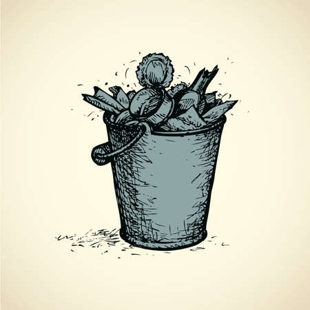 Metal container full of stinky refuse for recycle isolated on white backdrop. Freehand outline ink hand drawn icon sketchy in retro scribble style pen on paper. Closeup view with space for text 向量圖像