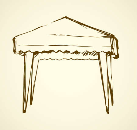 Big portable shade pop booth tarpaulin velarium on white backdrop. Freehand outline black ink hand drawn logo sketchy in art retro scribble contour style pen on paper. Closeup view with space for text