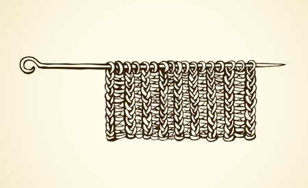 Old rough roll sew handknit design instrument on white backdrop. Freehand line black ink drawn picture logo emblem sketchy in art scribble ancient style pen on paper. Closeup view with space for text