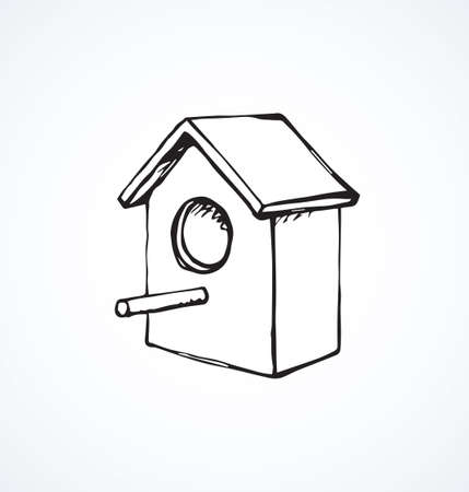 New big birdie room on white sky backdrop. Freehand outline black ink hand drawn habitat build logotype emblem sketchy in retro art scribble style pen on paper space for text. Close up isometric view
