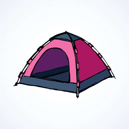 Open hiker resort booth tarpaulin habitation on white backdrop. Bright pink magenta color hand drawn logo sketchy in art modern scribble contour style pen on paper. Closeup view and space for text