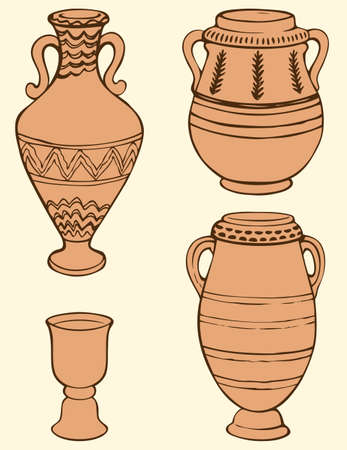 Vector monochrome picture of ancient vases and bowls painted geometric ornament  イラスト・ベクター素材