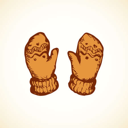 Two soft cute child ornate woolly jersey gauntlet mitts set isolated on white snow backdrop. Outline orange ink drawn picture object sketchy in art scribble retro style pen on paper and space for text