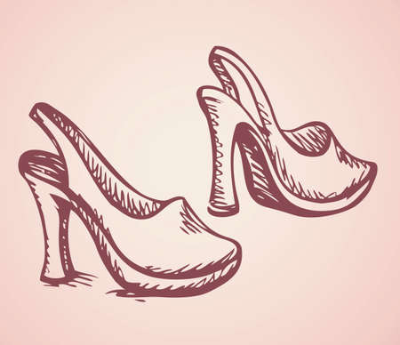 Romantic icon of two classic new beige ladies footwares items isolated on light pink background. Freehand linear ink drawn sign sketch in art style pen on paper. Close-up side view with space for text