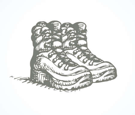 Rough old reliable eyelets forces camp footgear object on white background. Freehand dark color ink hand drawn emblem design sketch.