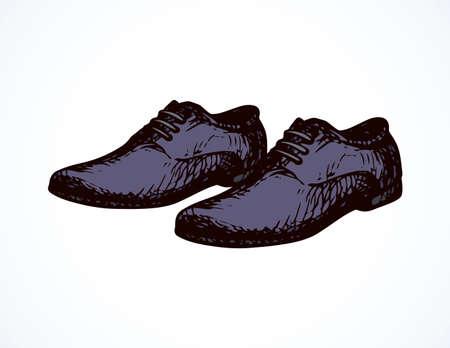 Old classic violet doeskin mocassin on light backdrop. Dark purple color hand drawn sneakers emblem sketch.
