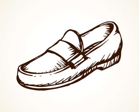 Old classic mocassin isolated on light backdrop. Freehand linear dark ink hand drawn picture emblem sketch.