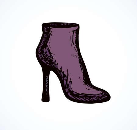 Romantic purple casual skin luxury pump jackboot on white backdrop. Dark violet color hand drawn beauty object sketch.