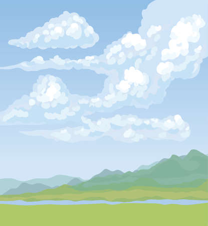 Cyan brook bank view on light azure heaven backdrop. Celestial color hand drawn painting picture in art cartoon style. Panoramic picturesque windy rocky mount country scenery with copyspace for text