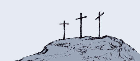 Three historic jew old tomb roods. Traditional lent crucified scene isolated on white backdrop. Outline black ink hand drawn picture sketch.