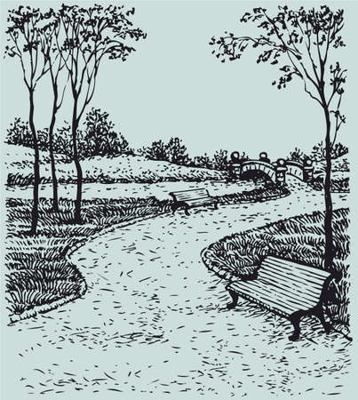 Vector landscape. The path to the bridge over the river with benches for peaceful park trees