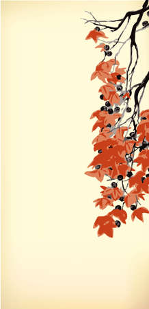 Vector vintage background in Japanese style. Hanging old branches with red leaves and pods