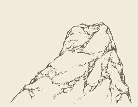 Big old heavy gray height hilltop up site ridge. Freehand outline ink hand drawn picture object sketchy in art doodle retro style pen on paper. Ilustração