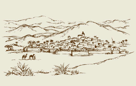 Old eastern biblical rural scenic view with stone wall and edifice. Freehand outline ink hand drawn picture sketch.