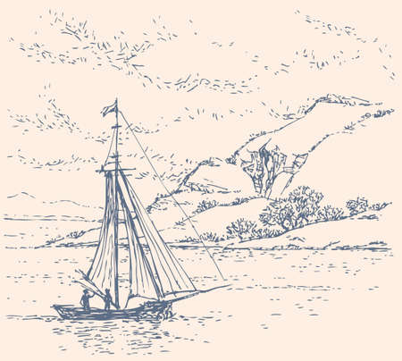 Vector landscape. Sketch of a fishing boat drifting off the coast