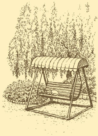 Vector landscape. Cozy corner summer park. Swing-bench near flower beds under the branches of a willow