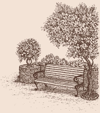Vector drawing. A quiet romantic corner of the park with a bench under a blooming lilac bush  イラスト・ベクター素材
