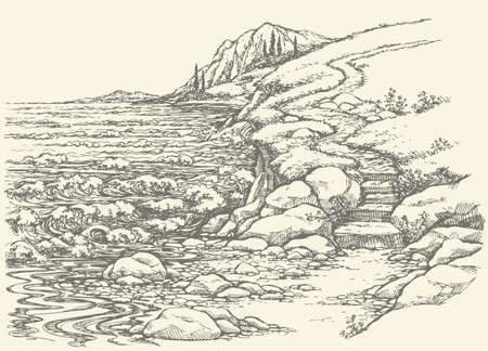 Vector landscape. Steps leading down the steep descent to the rocky shore, lapped by the surf
