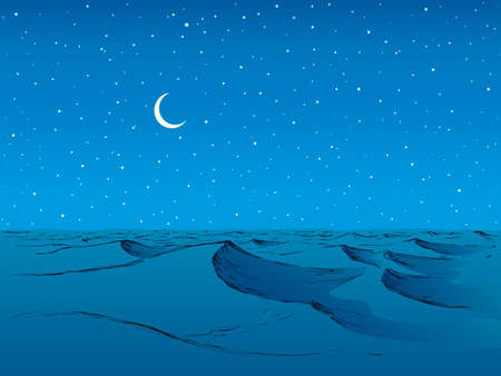 Wet teal spume curly motion horizon nightfall summer scenery. Bright aqua color hand drawn curve wind storm symbol in art cartoon style. Scenic view with space for text on deep cyan moonlight backdrop