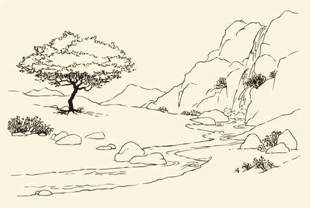 Vector landscape. Tree near a mountain stream in the meadow