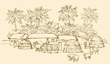 Past biblic babel aged jungle rural tribe adobe. Early arabic peasant slave job scene. Old clay mud abode, round thatch shack barn, donkey wagon.