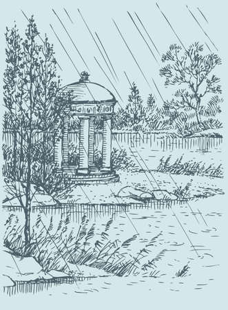 Vector landscape. Gazebo in the old park on the lake on a rainy day