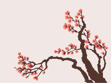 Vector background in Japanese style. Blooming bright red flowers on the tree branch Ilustrace